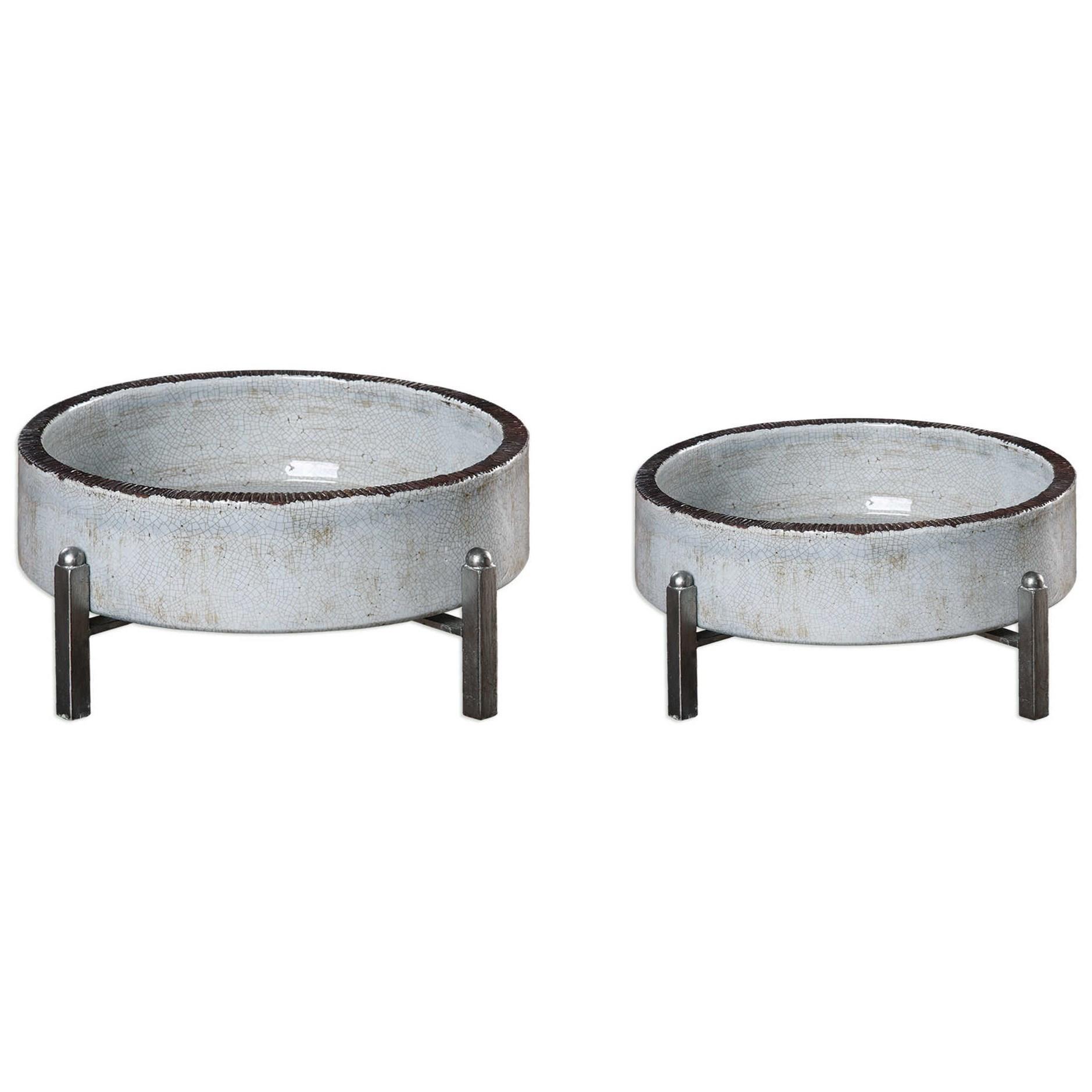 Accessories Essie Pale Gray Bowls (Set of 2) by Uttermost at Mueller Furniture
