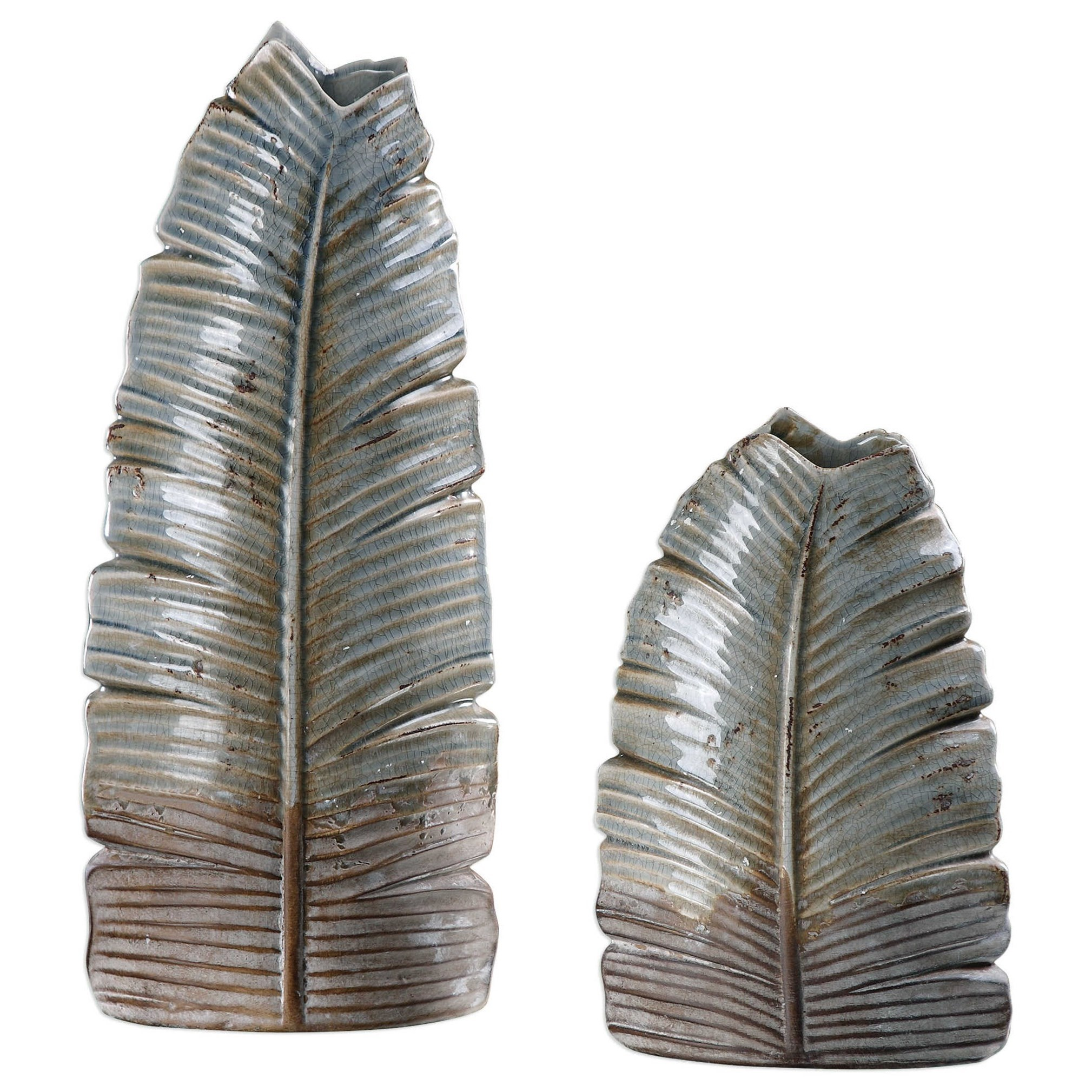 Accessories - Vases and Urns Invano Leaf Vases (Set of 2) by Uttermost at Wayside Furniture