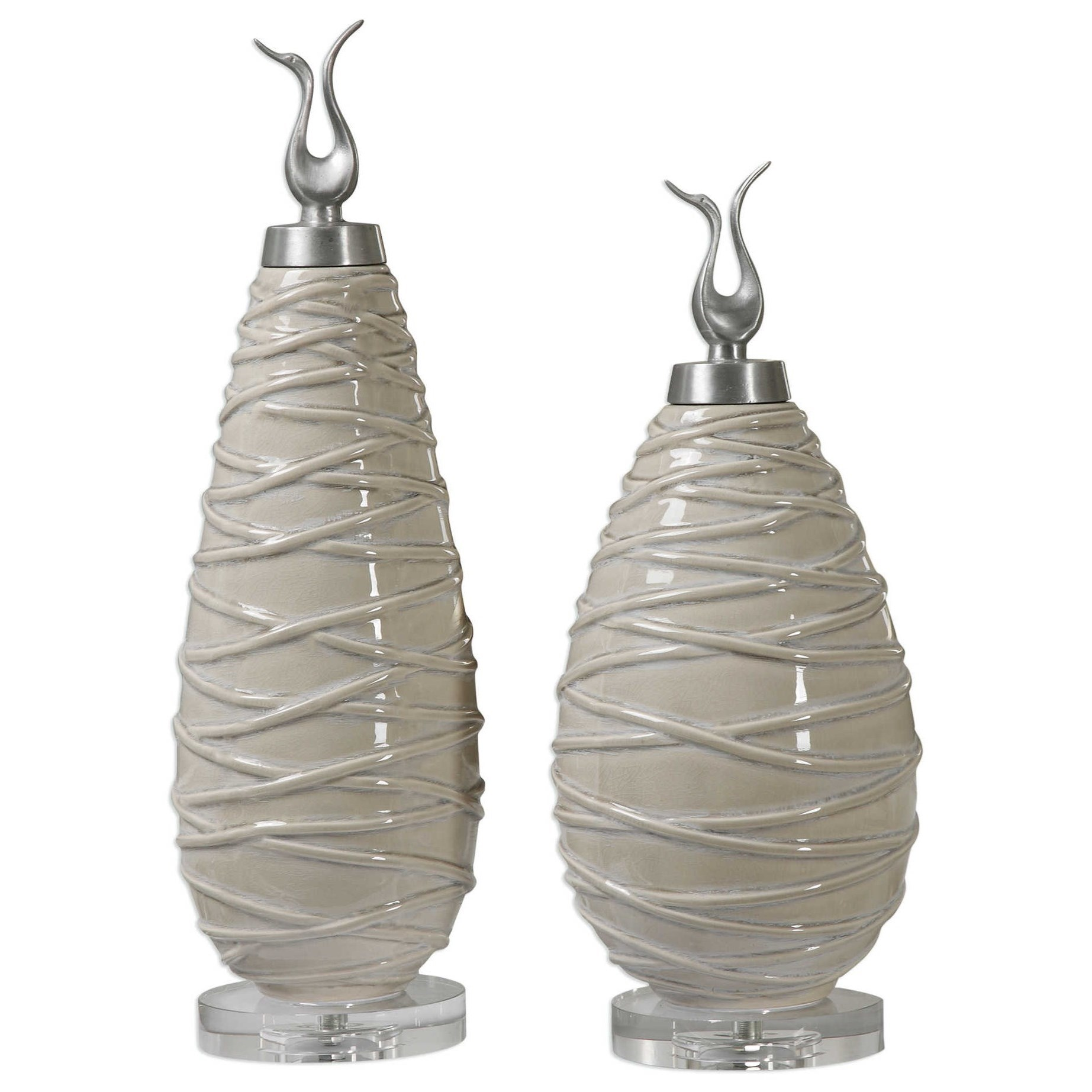 Accessories Romeo Crackled Light Gray Finials Set of 2 by Uttermost at Upper Room Home Furnishings