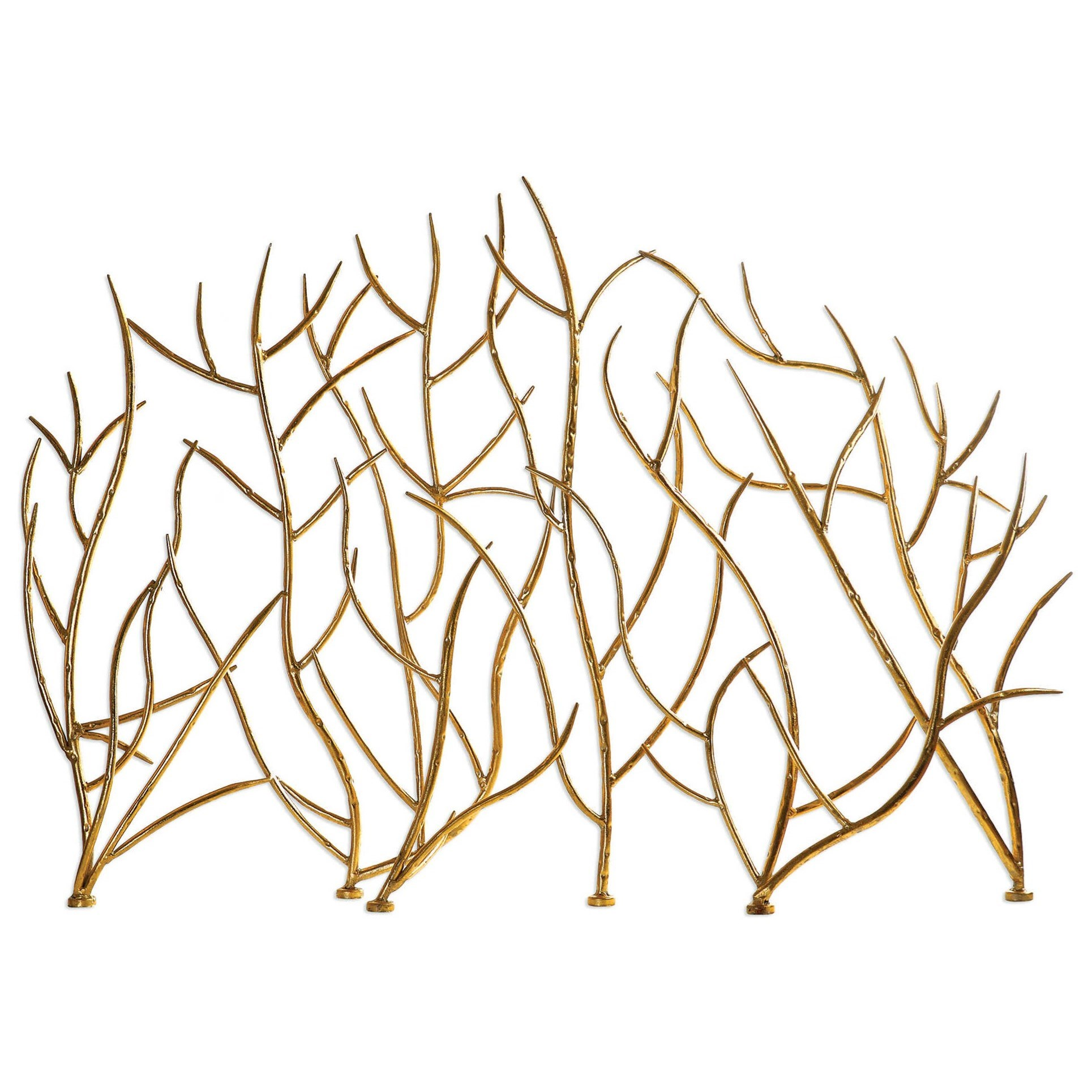 Accessories Gold Branches Decorative Fireplace Screen by Uttermost at Mueller Furniture