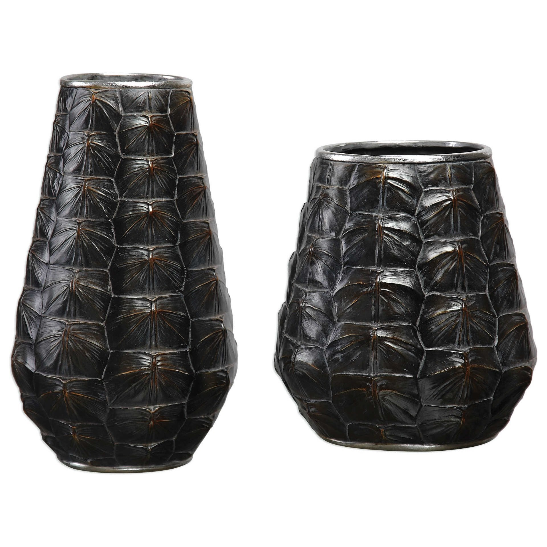 Accessories - Vases and Urns Kapil Tortoise Shell Vases Set of 2 by Uttermost at Mueller Furniture