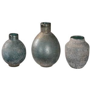 Mercede Weathered Blue-Green Vases Set of 3