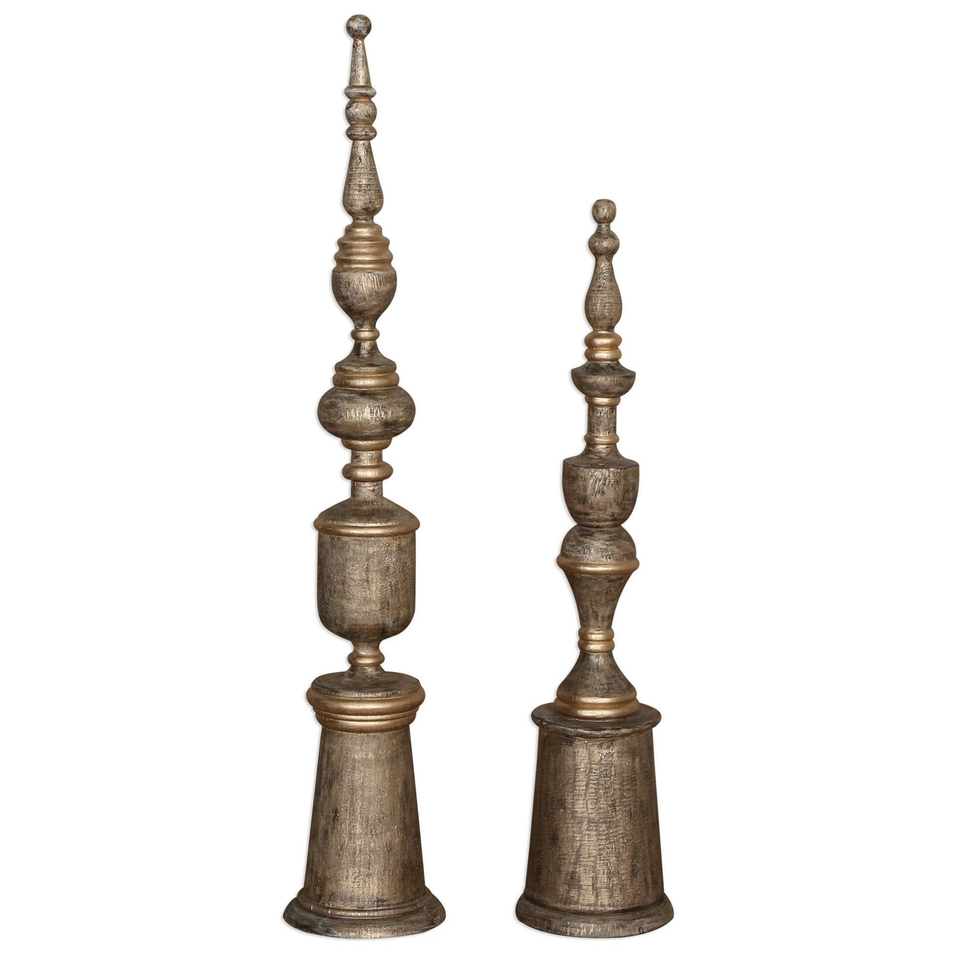 Accessories - Statues and Figurines Nalini Antique Gold Finials Set of 2 by Uttermost at Mueller Furniture