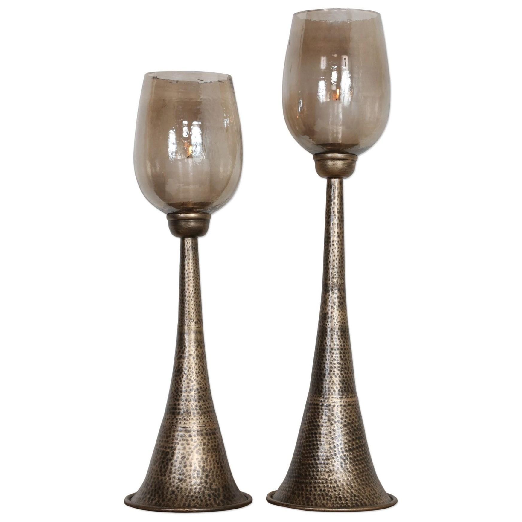 Badal Antiqued Gold Candleholders Set of 2