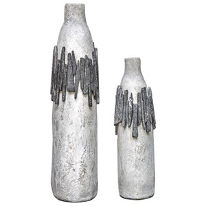 Rutva Aged Ivory Vases, S/2