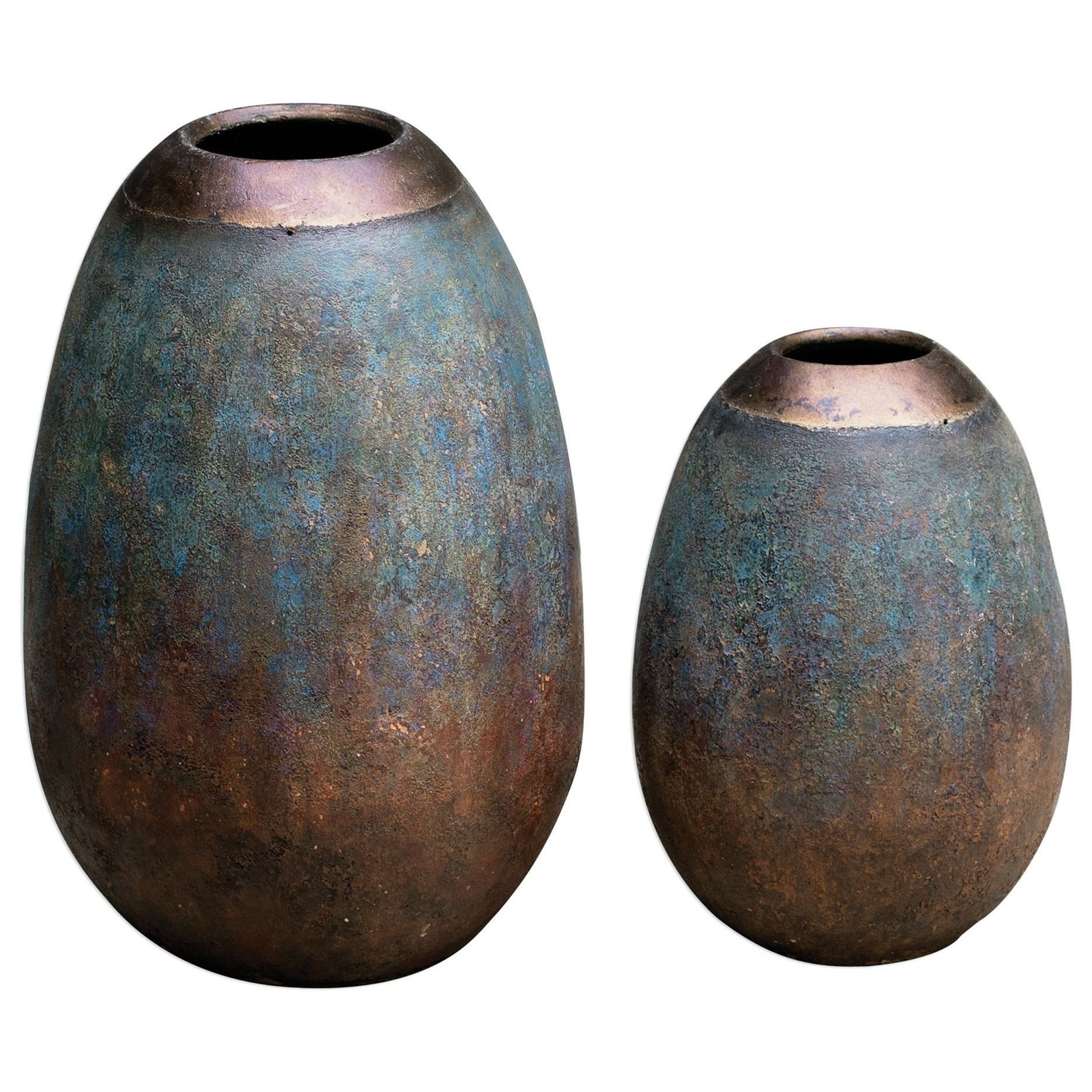 Accessories - Vases and Urns Pavak Etruscan Sky Vases S/2 by Uttermost at Mueller Furniture