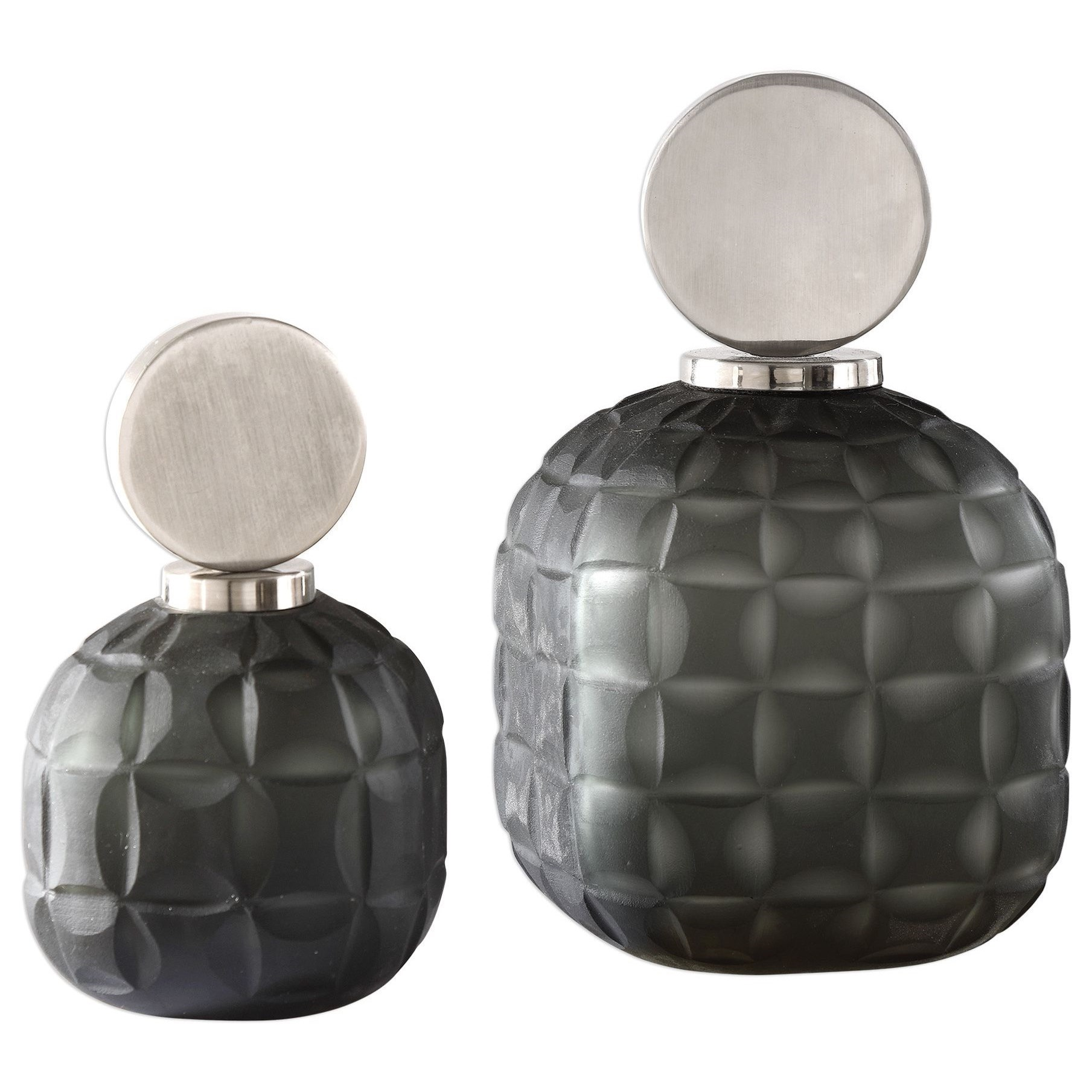 Accessories Nafuna Charcoal Glass Bottles S/2 by Uttermost at Upper Room Home Furnishings