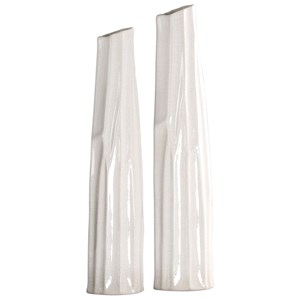 Kenley Crackled White Vases S/2
