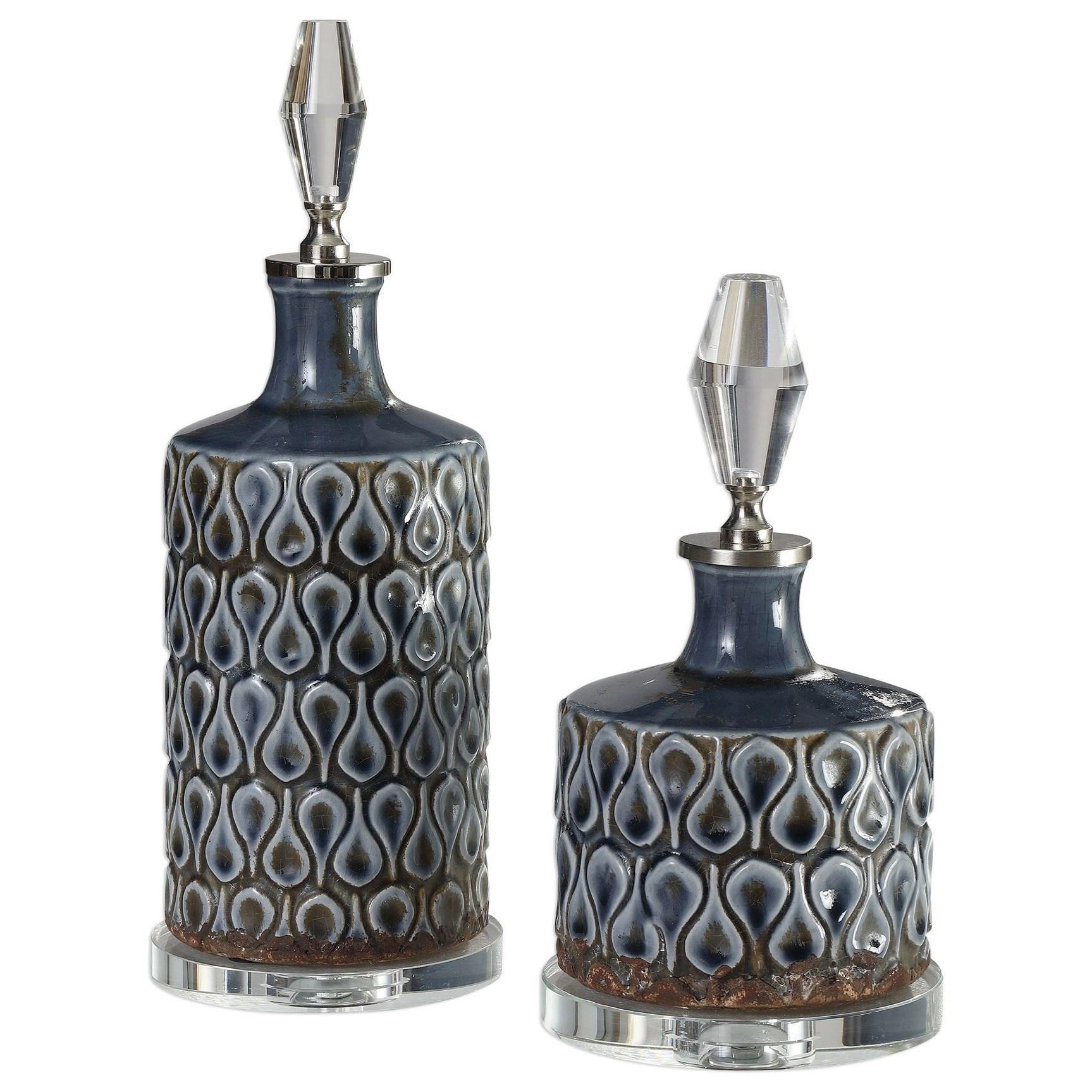 Accessories Varuna Cobalt Blue Bottles S/2 by Uttermost at Mueller Furniture