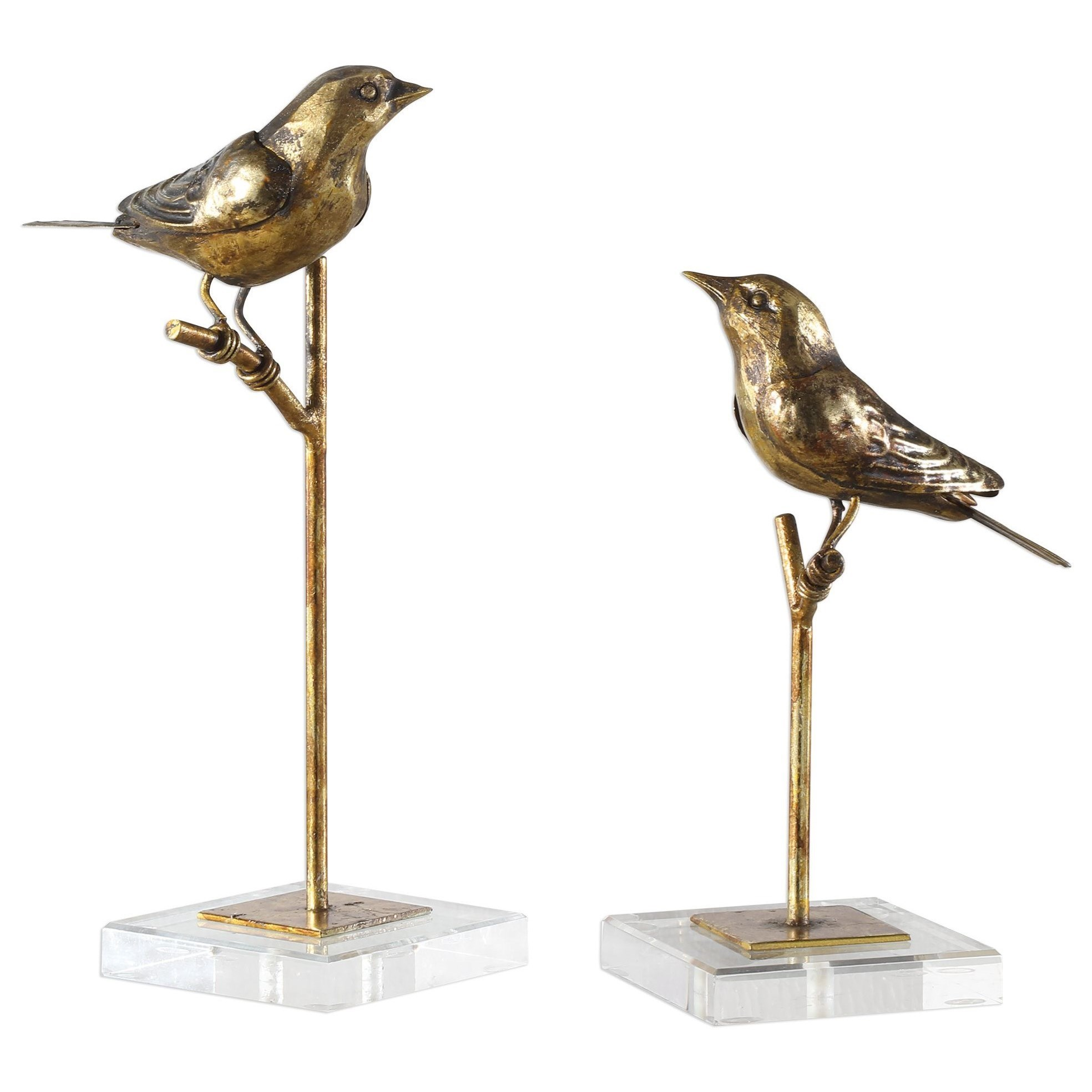 Accessories - Statues and Figurines Passerines Bird Sculptures S/2 by Uttermost at Suburban Furniture