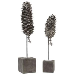 Longleaf Pine Cone Sculptures S/2