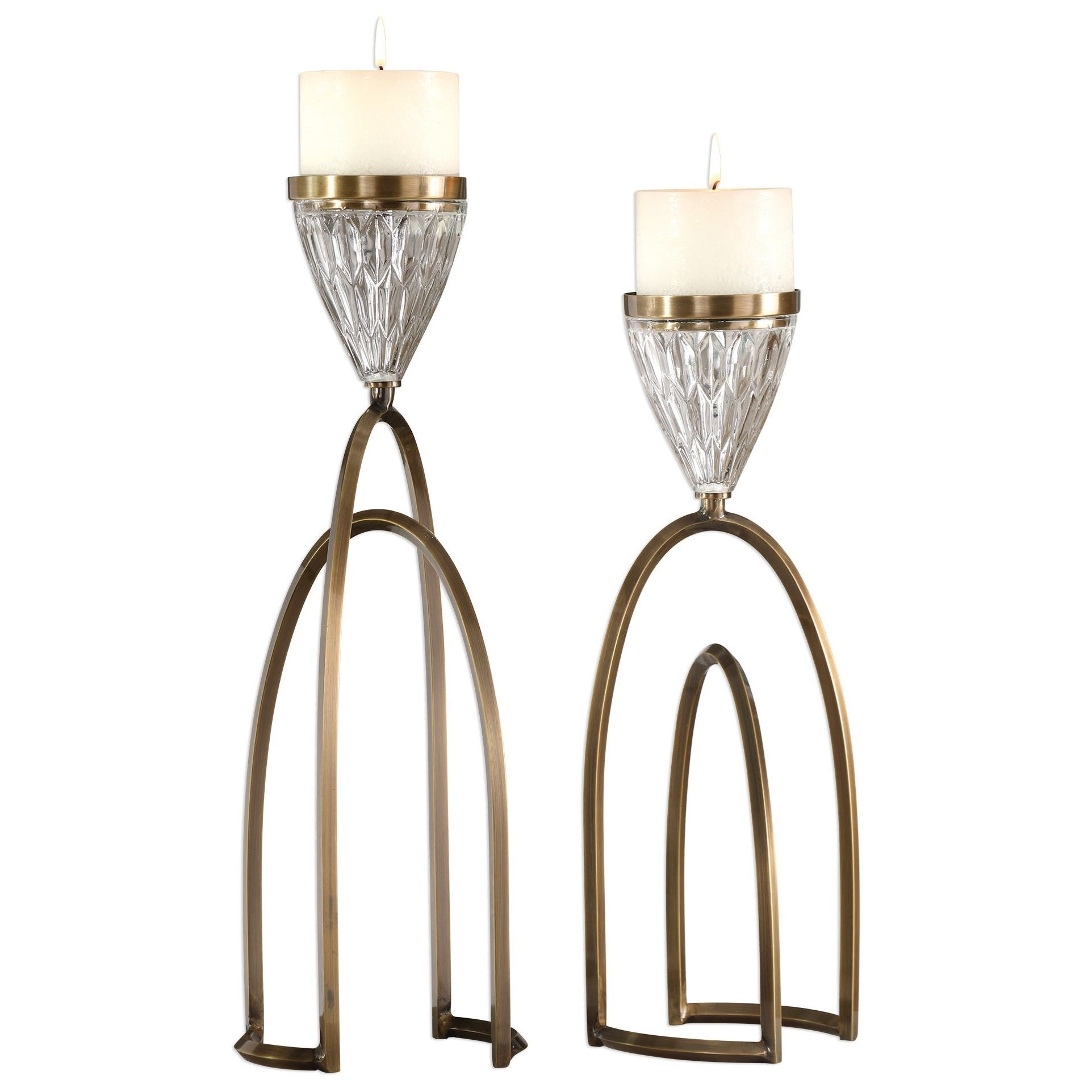 Accessories - Candle Holders Carma Bronze And Crystal Candleholders by Uttermost at Mueller Furniture