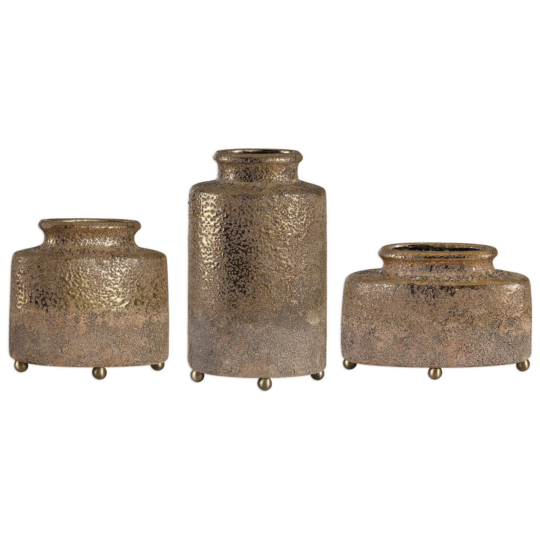 Accessories - Vases and Urns Kallie Metallic Golden Vessels S/3 by Uttermost at Mueller Furniture