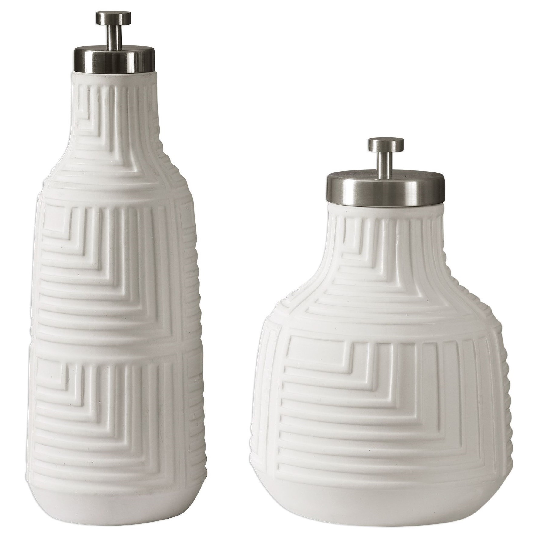 Accessories Chandran Matte White Containers S/ by Uttermost at Dunk & Bright Furniture