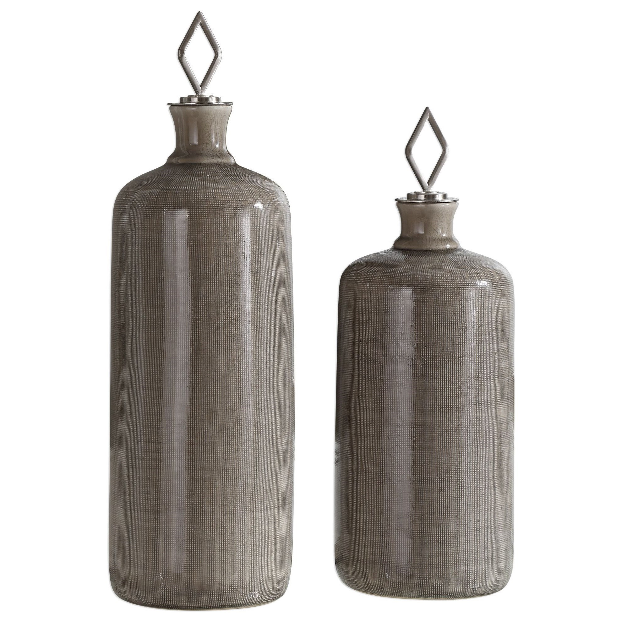 Accessories Dhara Taupe Glaze Bottles, S/2 by Uttermost at Dunk & Bright Furniture