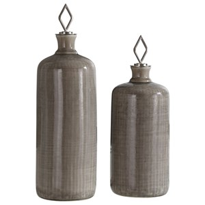 Dhara Taupe Glaze Bottles, S/2