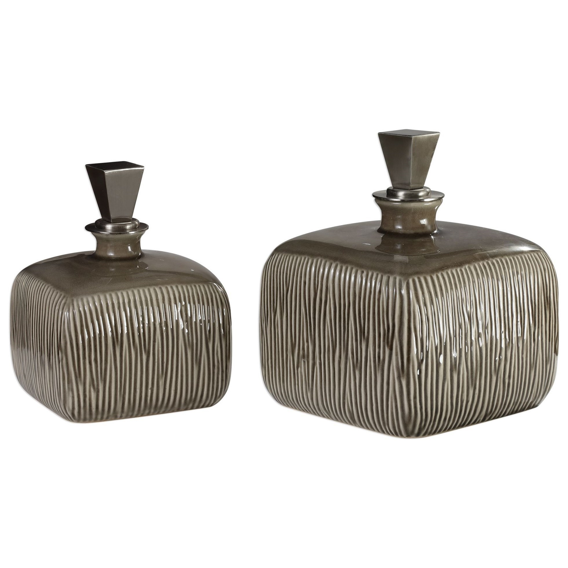 Accessories Cayson Ribbed Ceramic Bottles, S/2 by Uttermost at Upper Room Home Furnishings