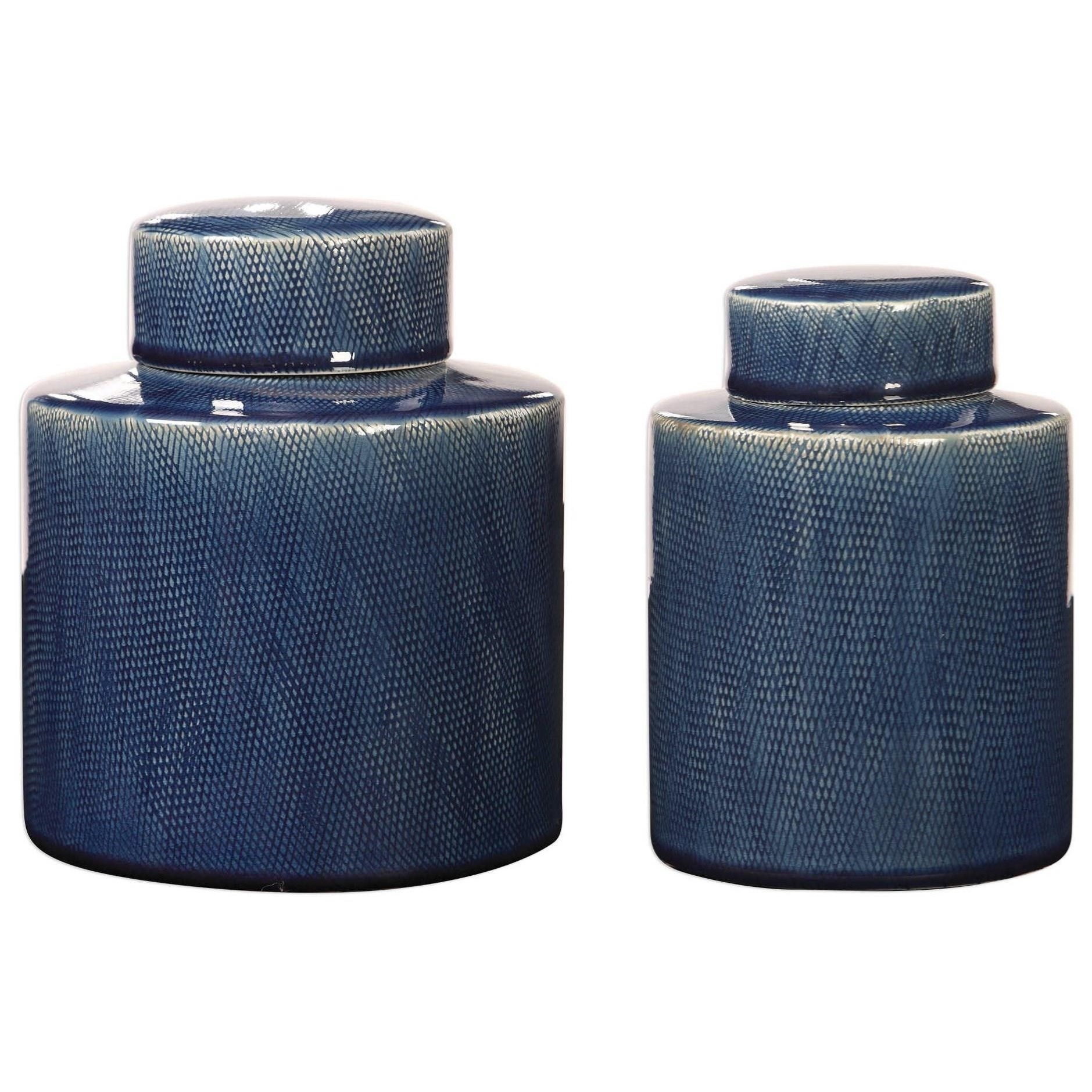 Accessories Saniya Blue Containers, S/2 by Uttermost at Mueller Furniture