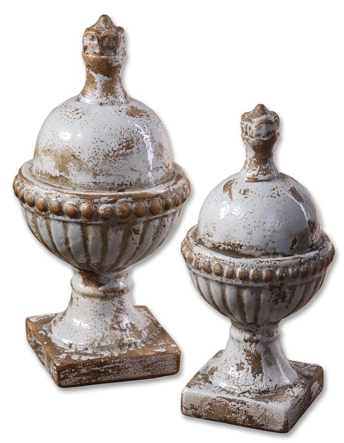 Accessories - Statues and Figurines Sini Finials Set of 2 by Uttermost at Mueller Furniture