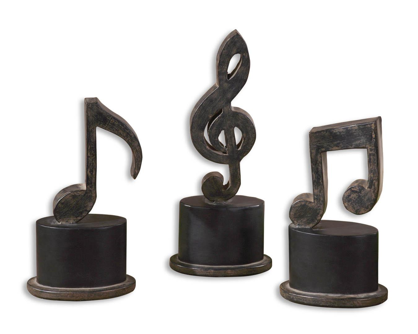 Accessories - Statues and Figurines Music Notes Set of 3 by Uttermost at Mueller Furniture