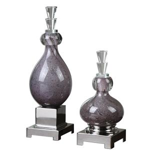Charoite Purple Glass Bottles, Set of  2