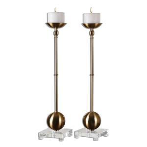 Laton Brass Candleholders, Set of  2