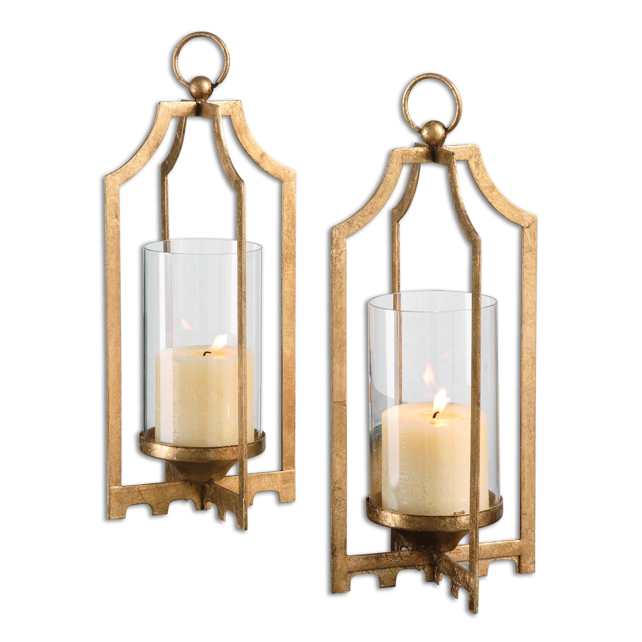 Accessories - Candle Holders Lucy Gold Candleholders S/2 by Uttermost at Dunk & Bright Furniture