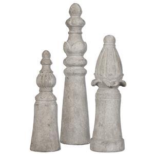 Asmund Aged Ivory Finials S/3