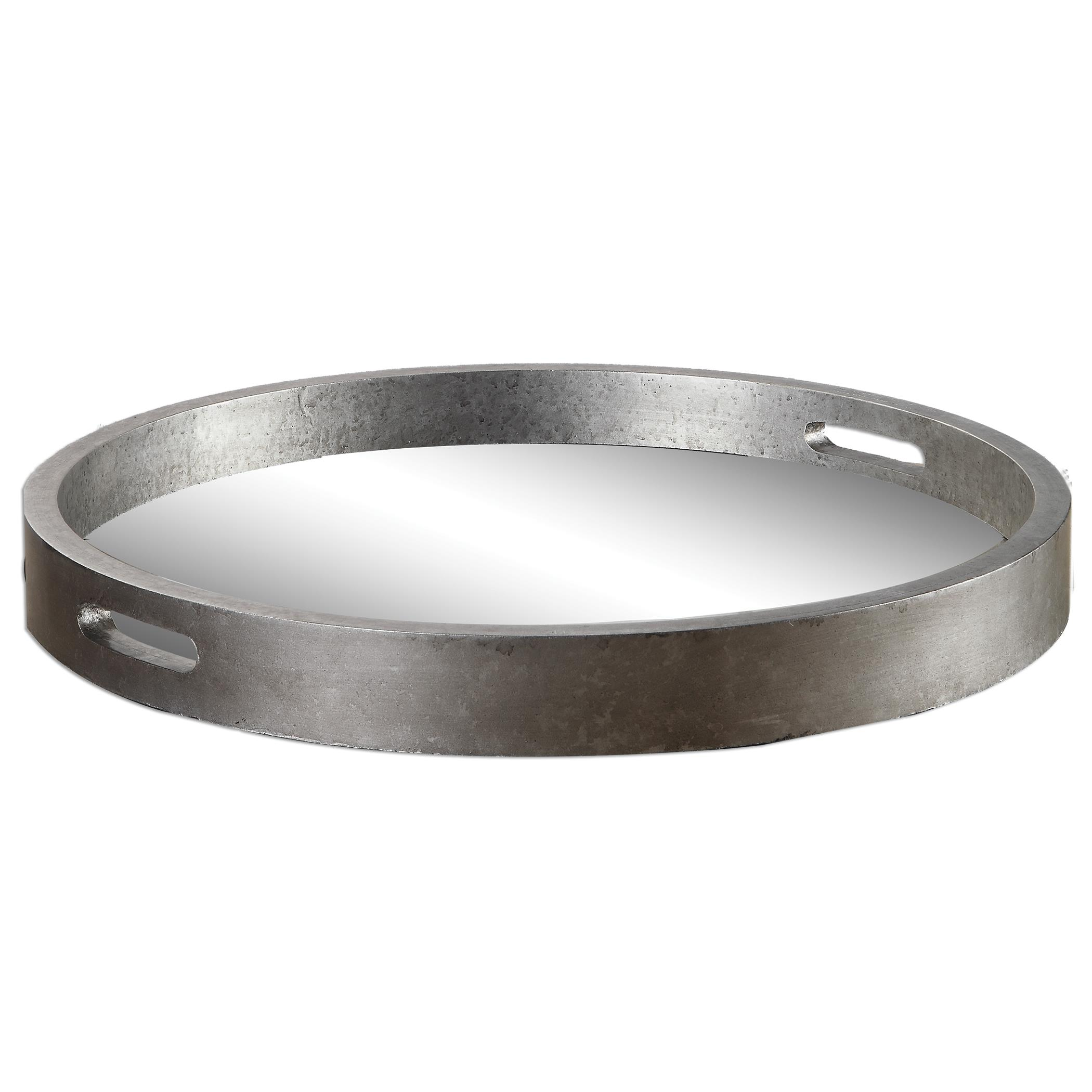 Accessories Bechet Round Silver Tray by Uttermost at Dunk & Bright Furniture