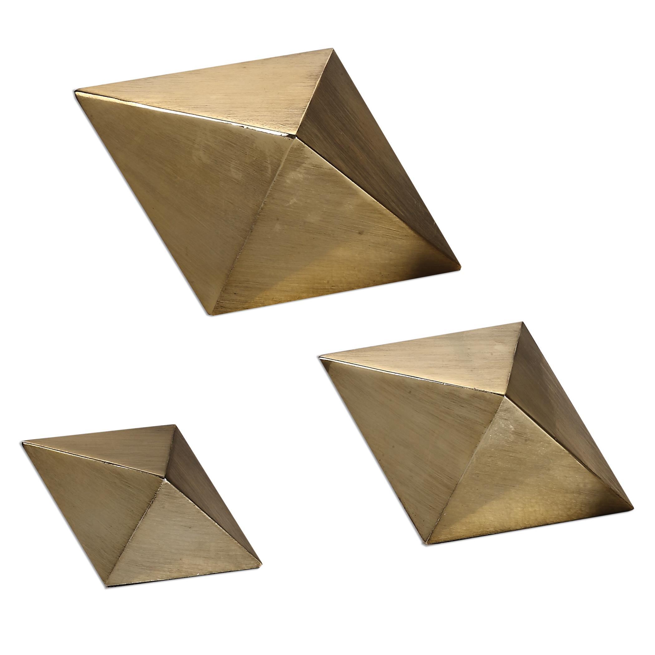 Accessories - Statues and Figurines Rhombus Champagne Accents, S/3 by Uttermost at Mueller Furniture