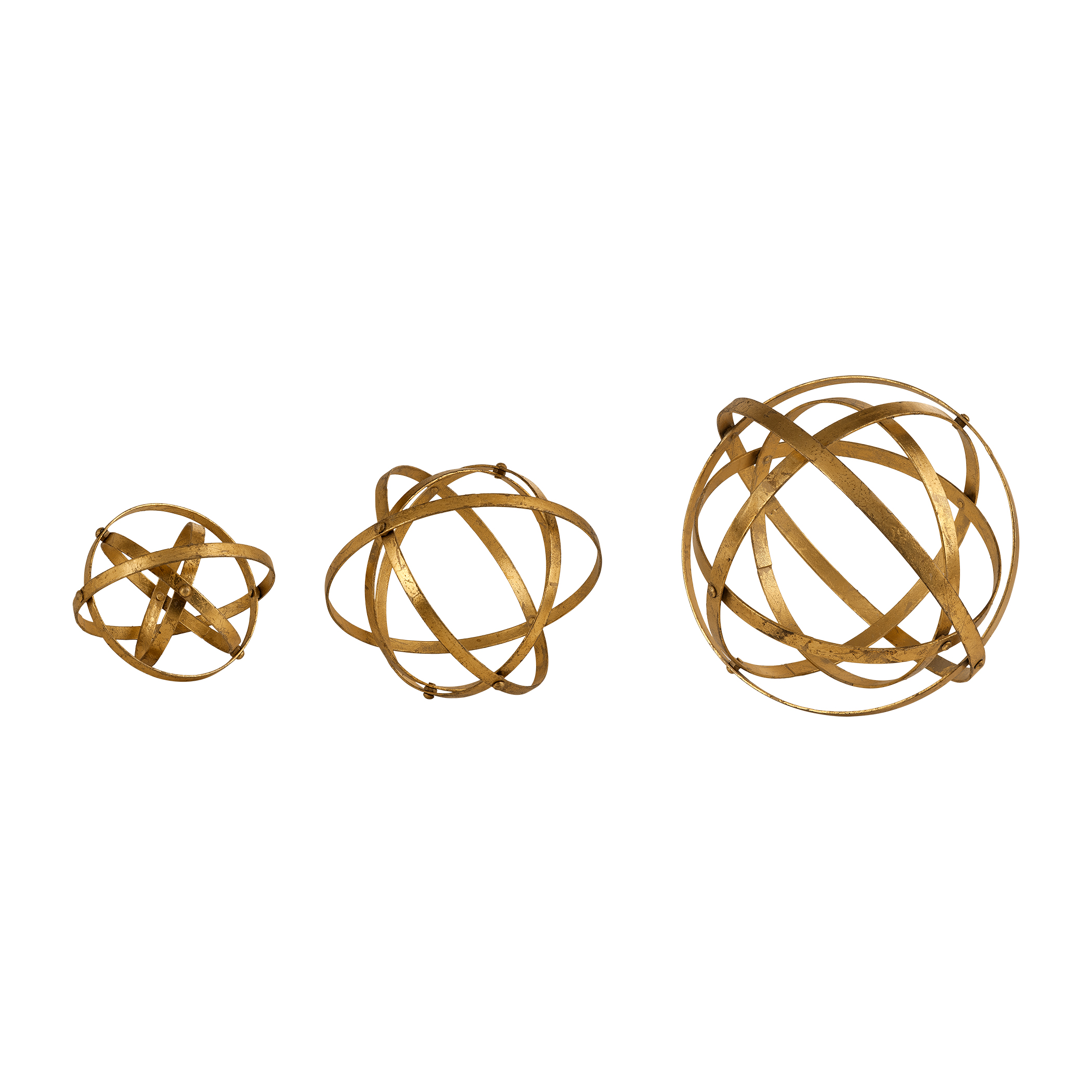 Accessories - Statues and Figurines Stetson Gold Spheres, S/3 by Uttermost at Mueller Furniture