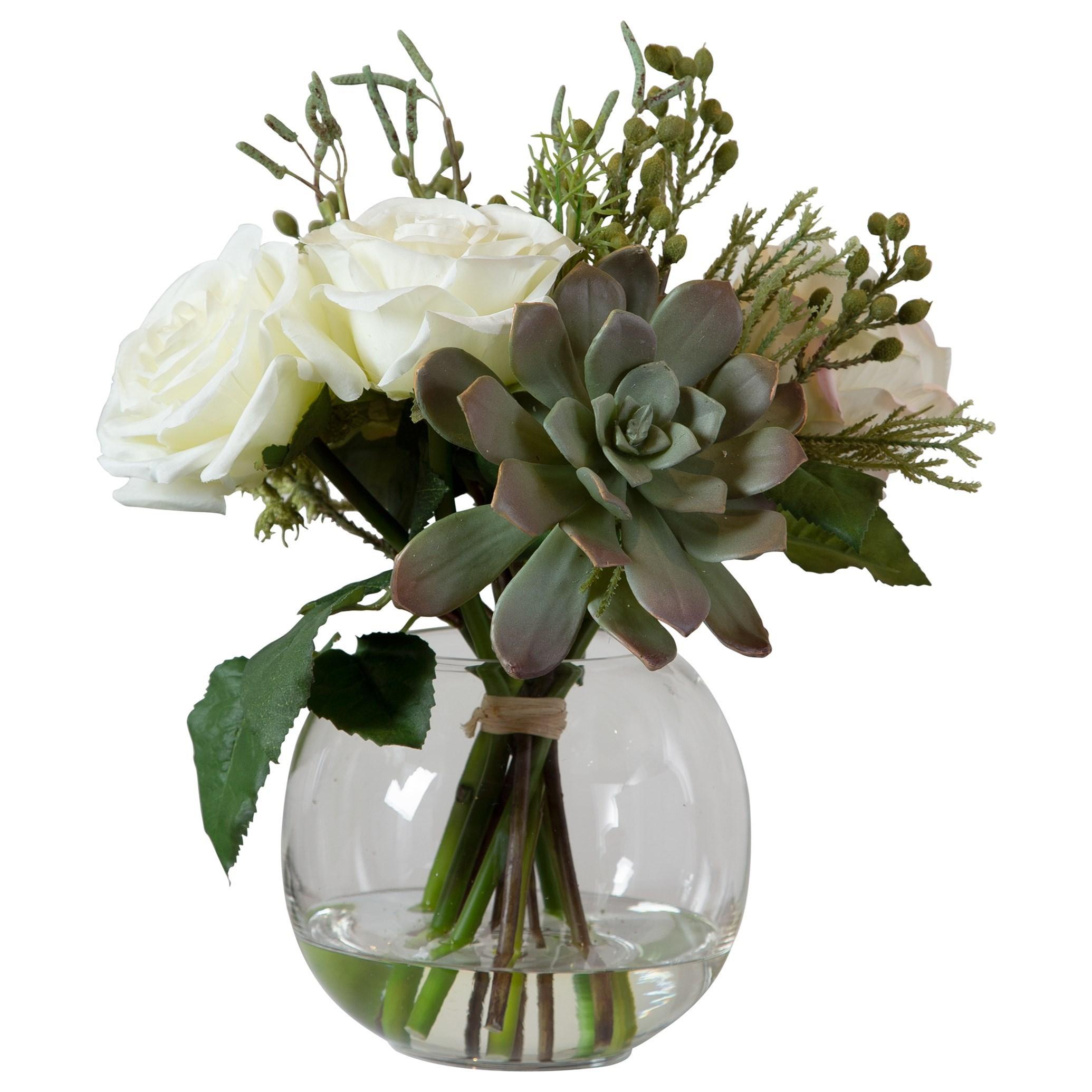 Accessories Belmonte Floral Bouquet & Vase by Uttermost at Dunk & Bright Furniture