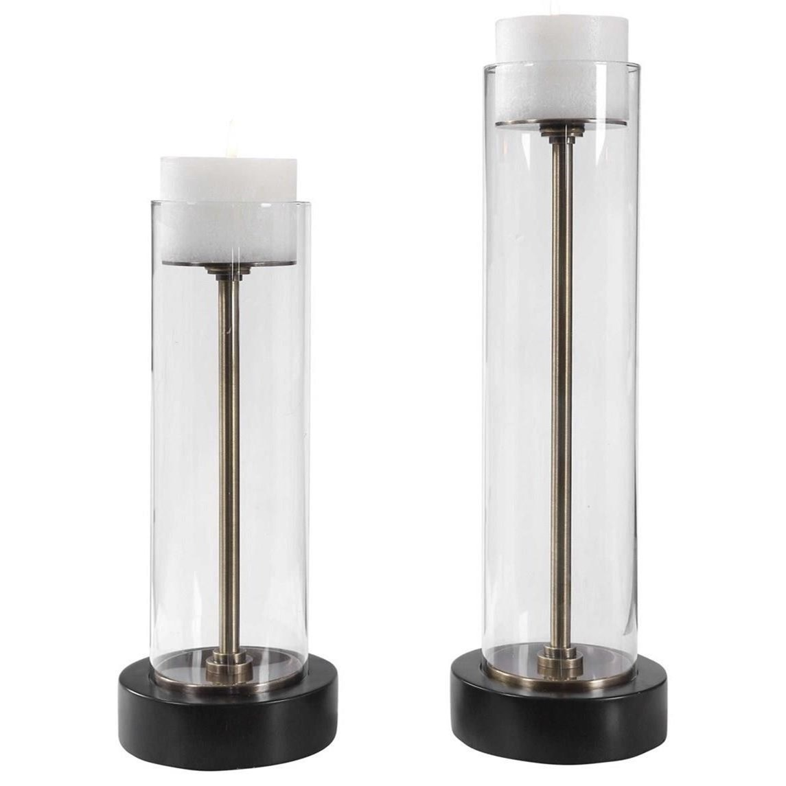 Accessories - Candle Holders Charvi Glass Candleholders, Set/2 by Uttermost at Mueller Furniture