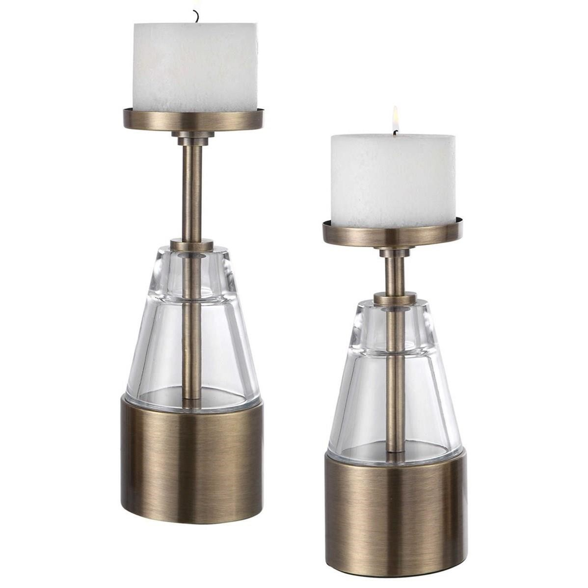 Accessories - Candle Holders Theirry Crystal Candleholders, Set/2 by Uttermost at Mueller Furniture