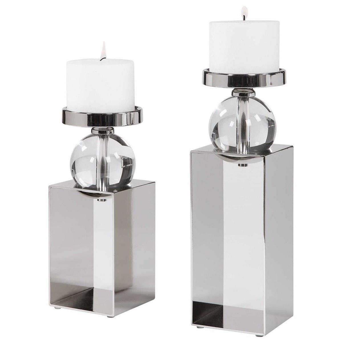 Accessories - Candle Holders Lucian Nickel Candleholders, Set/2 by Uttermost at Mueller Furniture