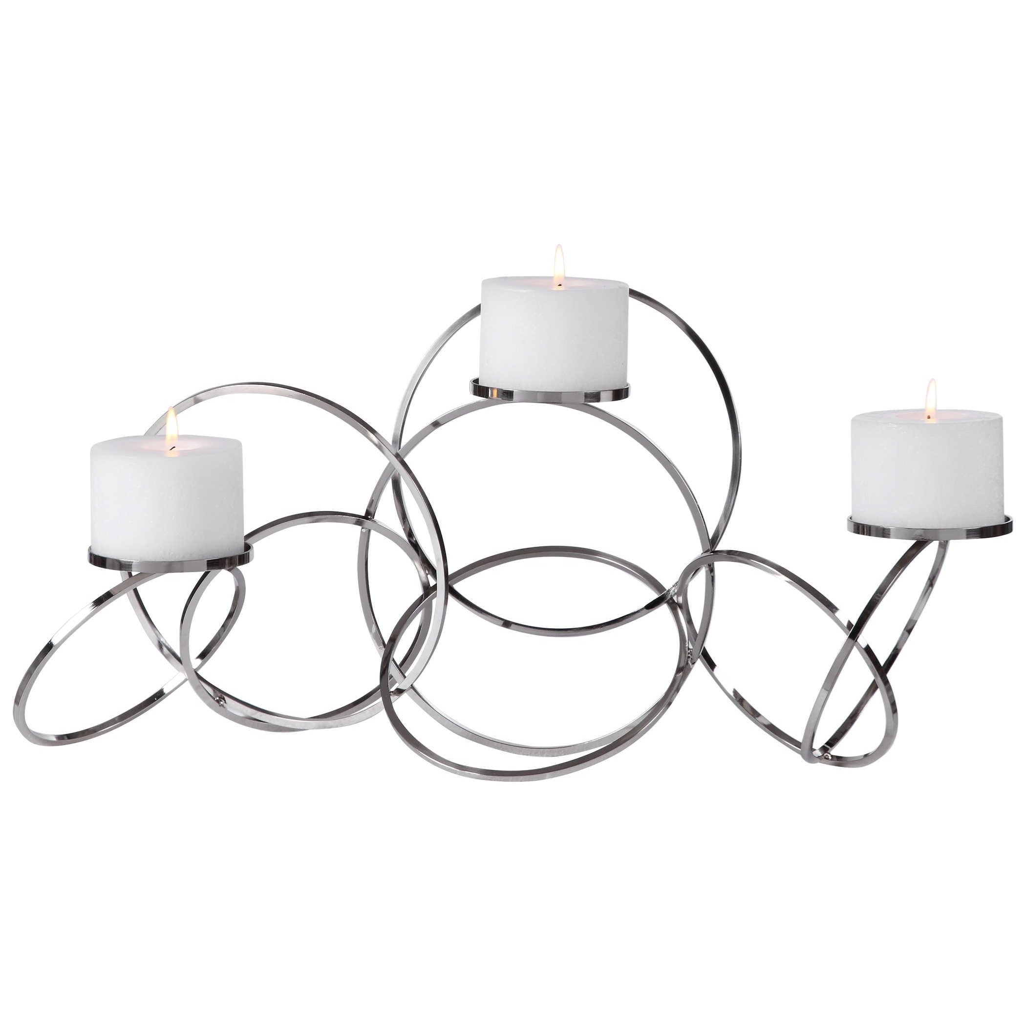 Accessories - Candle Holders Kiernan Nickel Ring Candleholder by Uttermost at Mueller Furniture