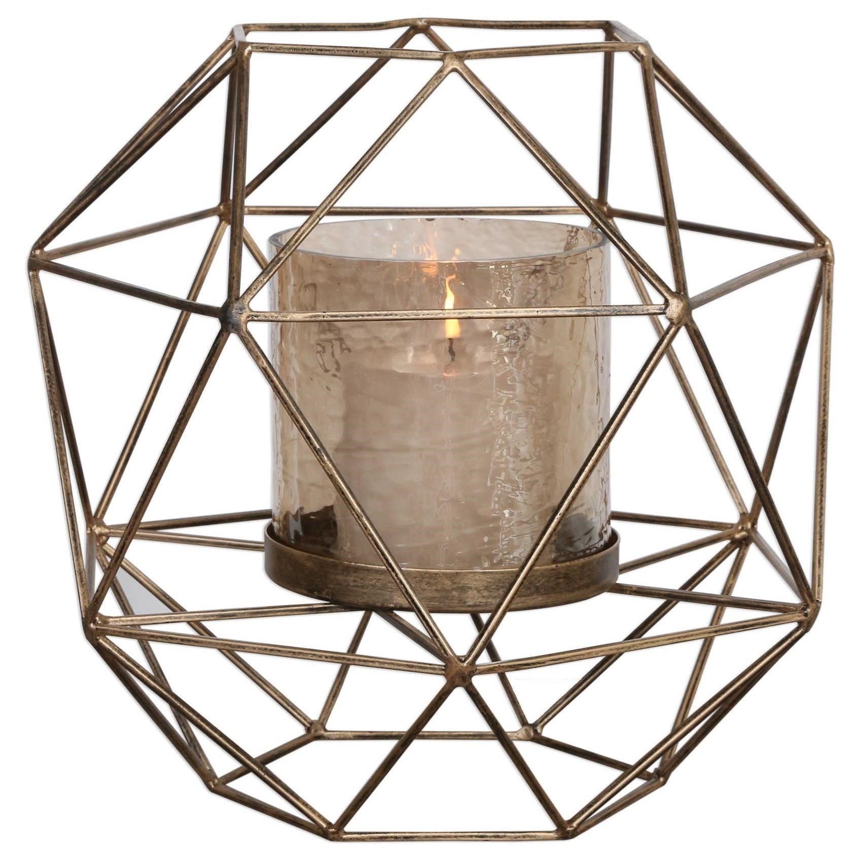 Accessories - Candle Holders Myah Geometric Gold Candleholder by Uttermost at Dunk & Bright Furniture