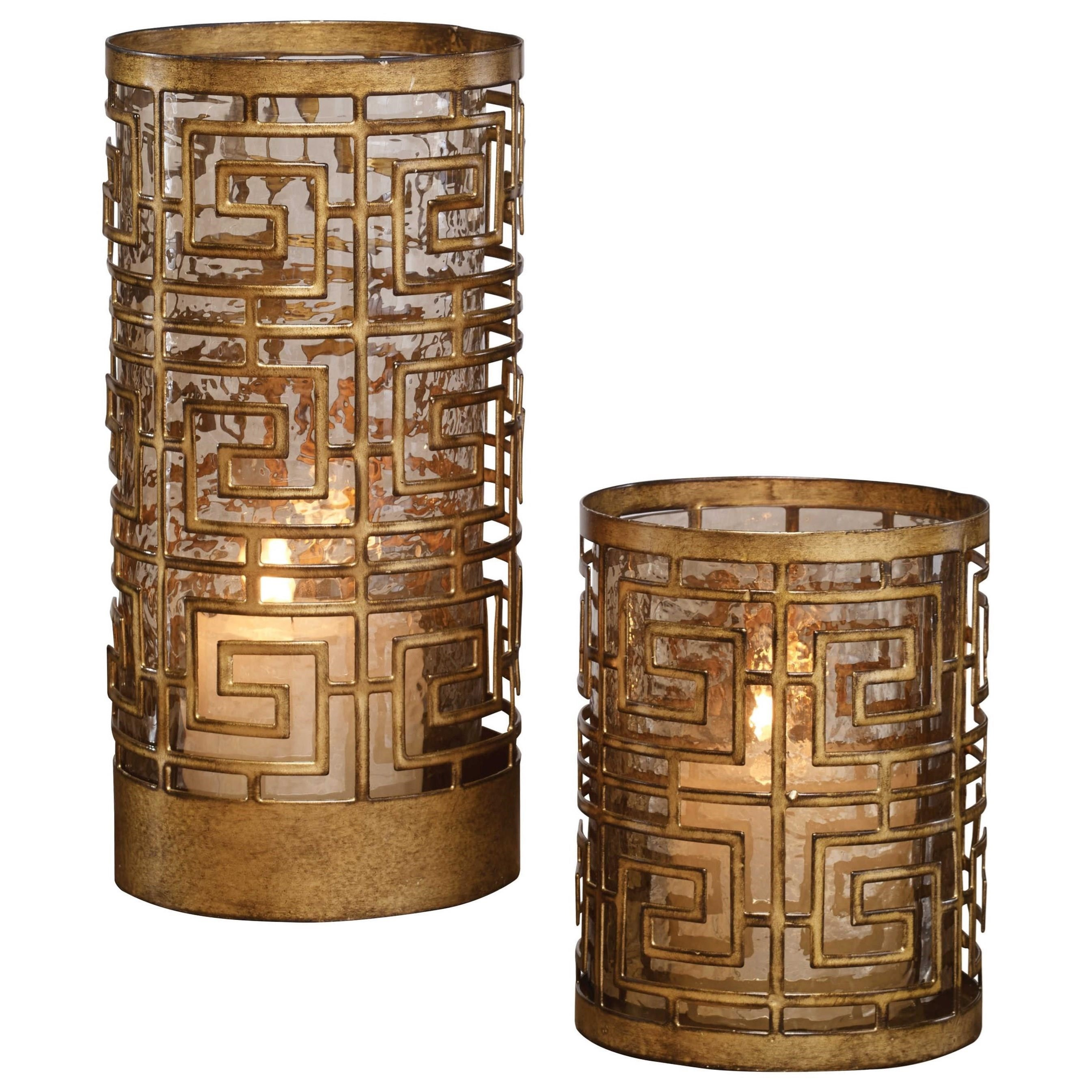 Accessories - Candle Holders Ruhi Hurricane Candleholders, S/2 by Uttermost at Pedigo Furniture