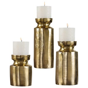 Amina Antique Brass Candleholders (Set of 3)
