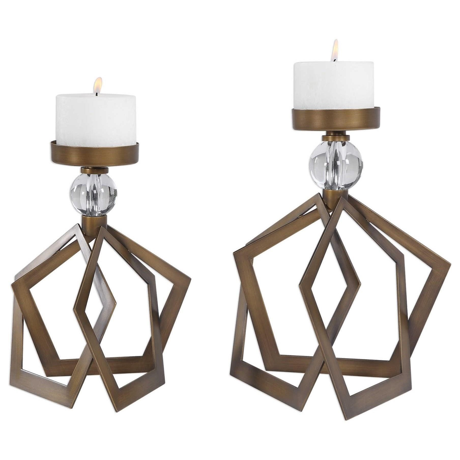 Accessories - Candle Holders Lianna Open Bronze Candleholders (Set of 2) by Uttermost at Mueller Furniture