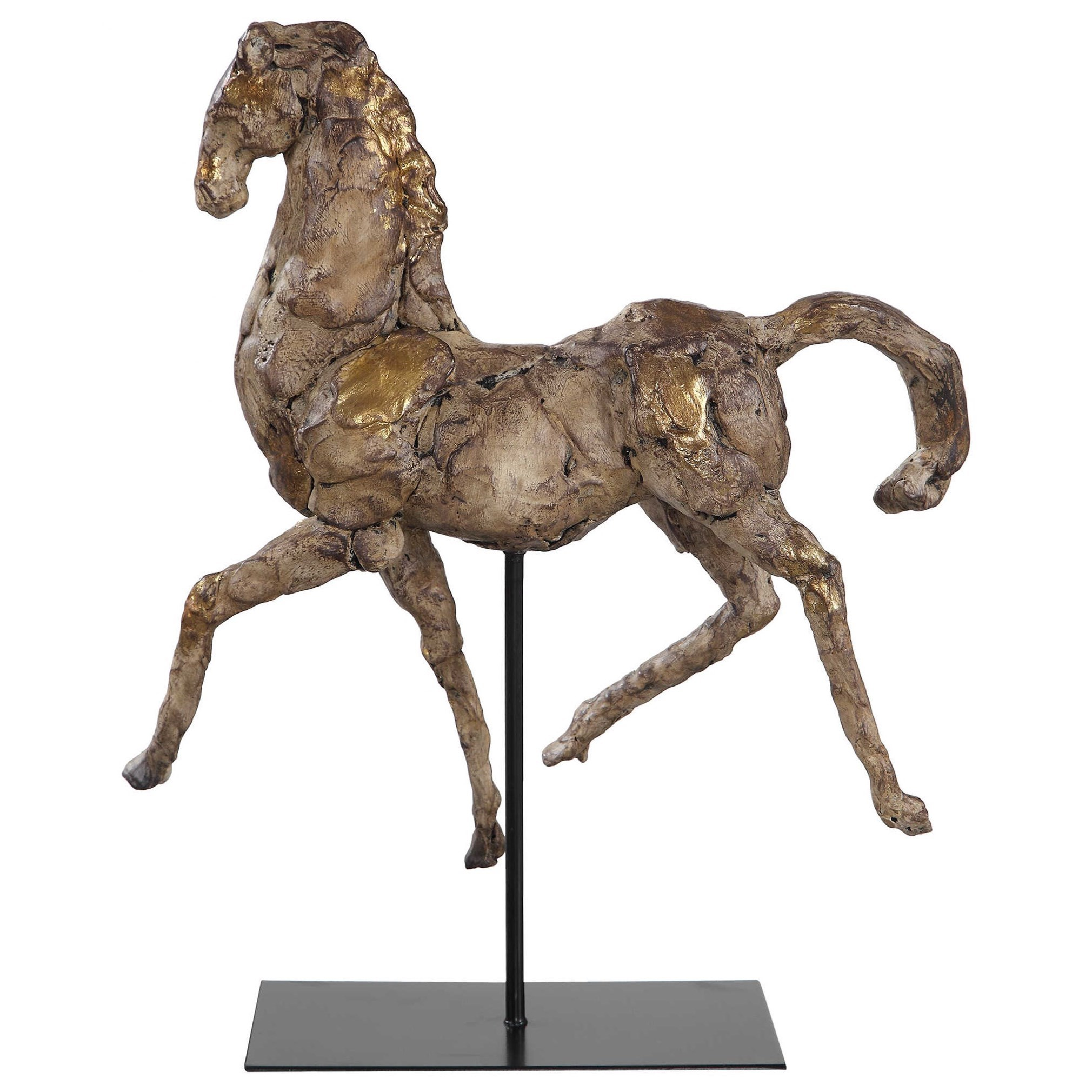 Accessories - Statues and Figurines Caballo Dorado Horse Sculpture by Uttermost at Mueller Furniture