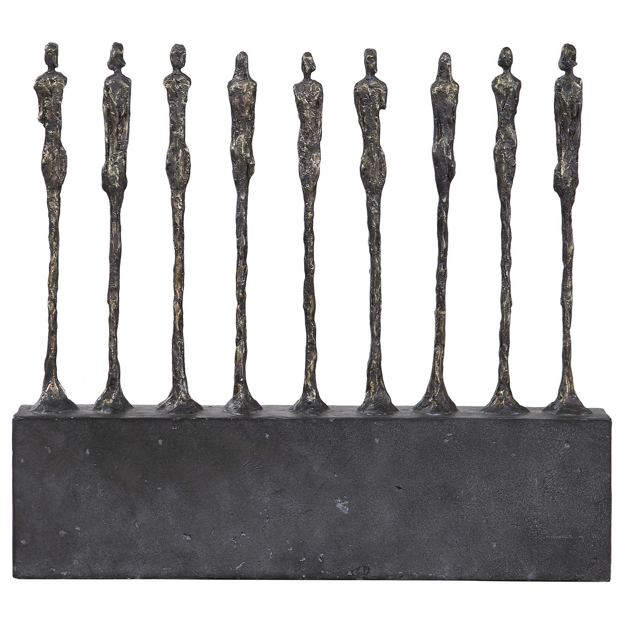 Accessories - Statues and Figurines Stand Together Aged Gold Figurine by Uttermost at Suburban Furniture