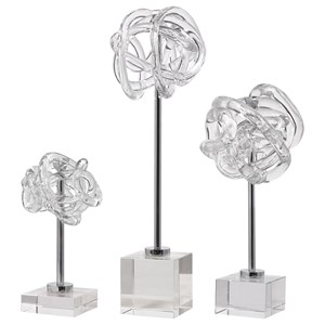 Neuron Glass Table Top Sculptures, S/3