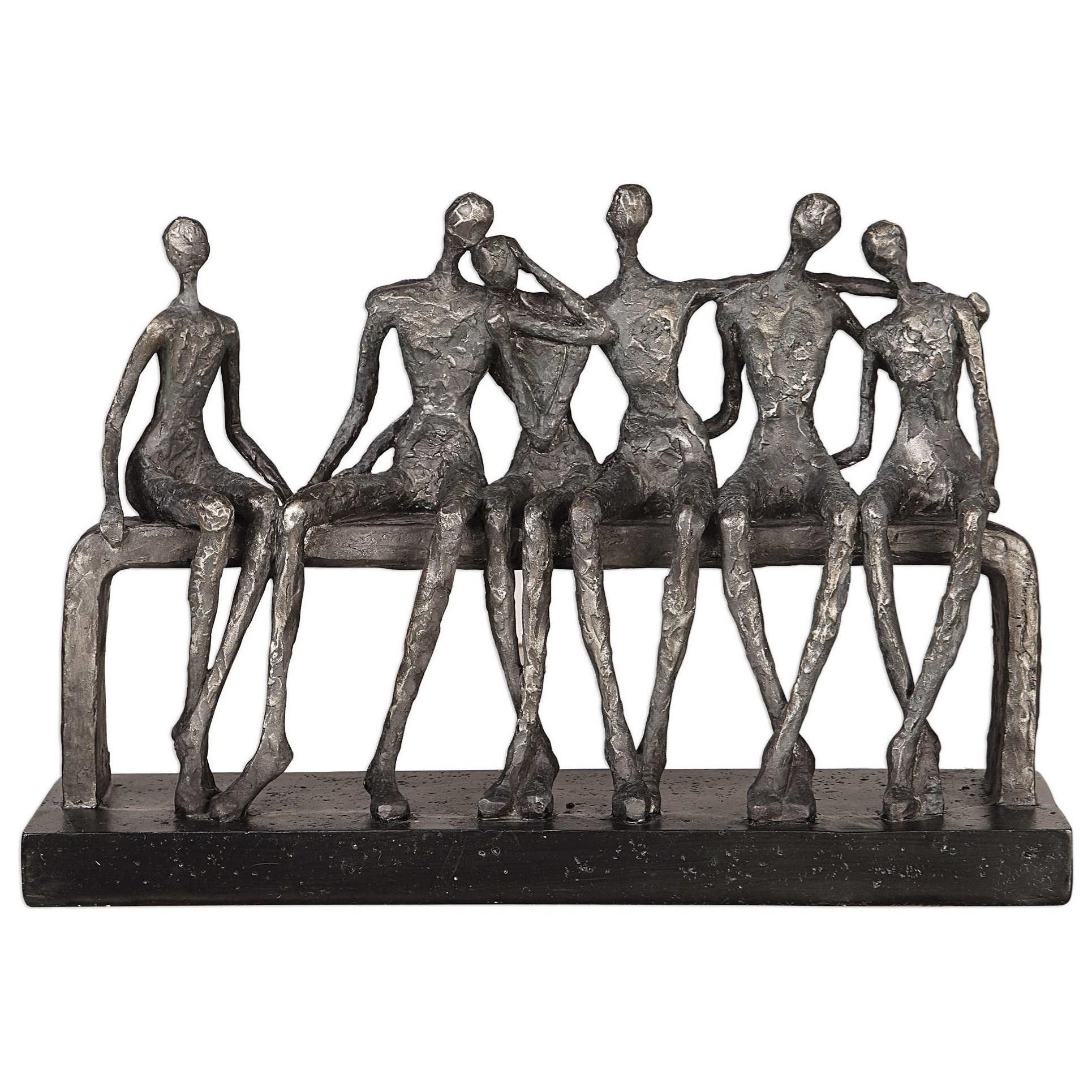 Accessories - Statues and Figurines Camaraderie Aged Silver Figurine by Uttermost at Mueller Furniture