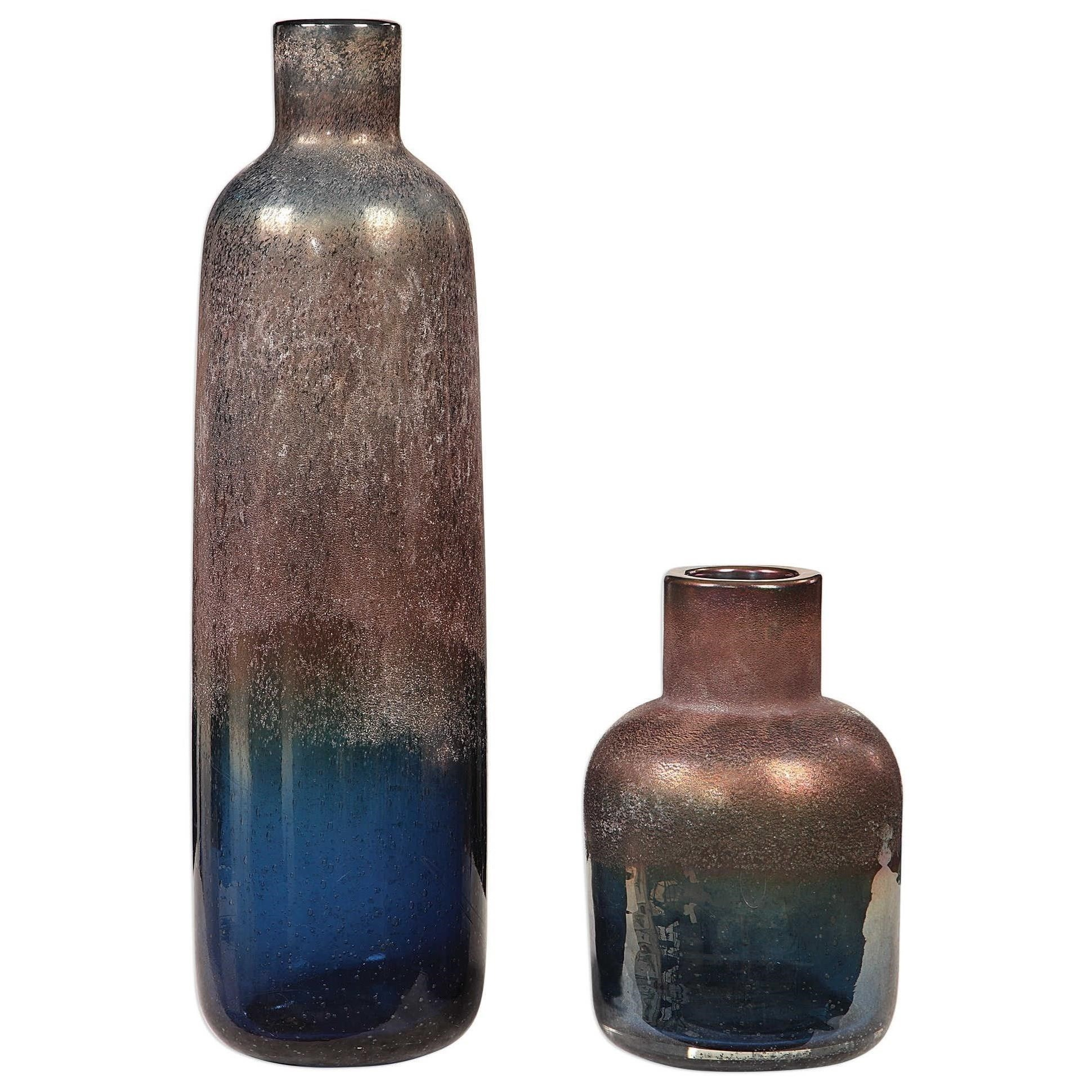 Accessories - Vases and Urns Korbin Blue Vases, S/2 by Uttermost at Mueller Furniture