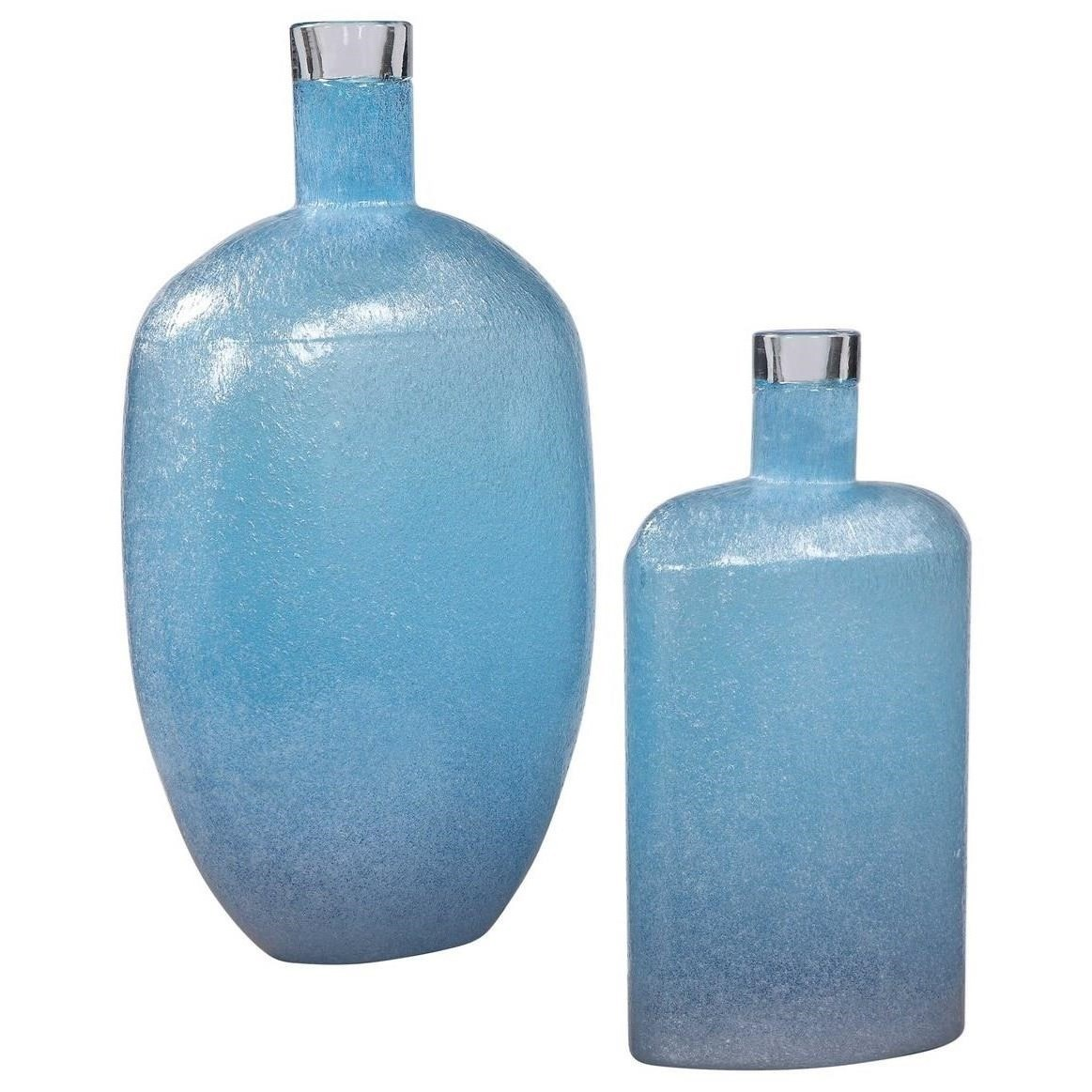 Accessories - Vases and Urns Suvi Blue Glass Vases, Set/2 by Uttermost at Mueller Furniture