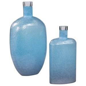 Suvi Blue Glass Vases, Set/2