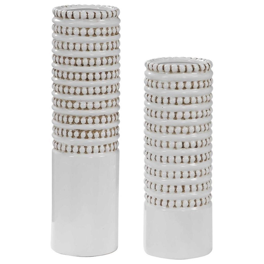 Accessories - Vases and Urns Angelou White Vases, Set/2 by Uttermost at Wayside Furniture