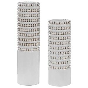 Angelou White Vases, Set of 2