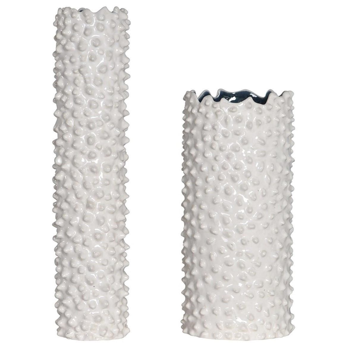 Accessories - Vases and Urns Ciji White Vases, Set/2 by Uttermost at Mueller Furniture